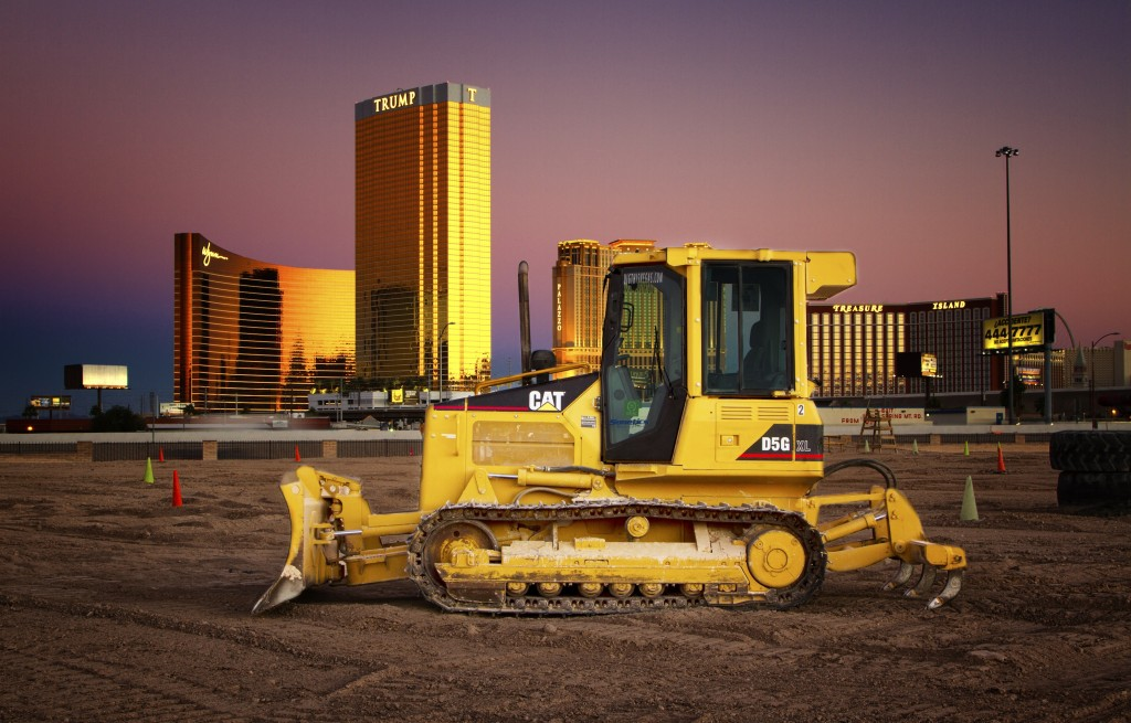 A dozer against the background of the Las Vegas Strip - picture curtsey of Dig This - www.digthisvegas.com